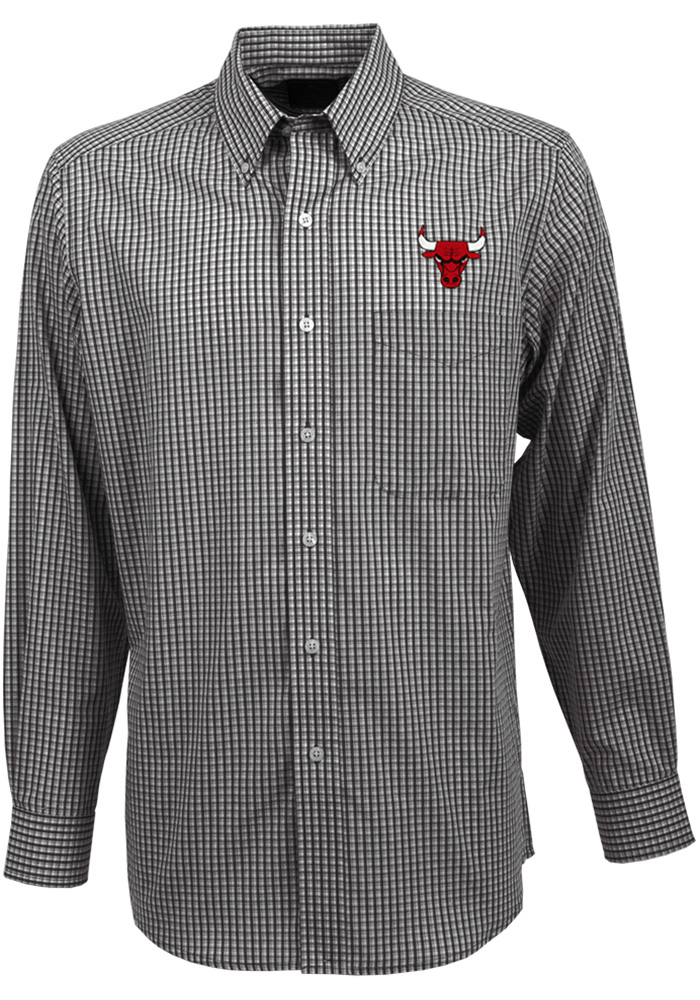 Antigua Chicago Bulls Mens Black Associate Long Sleeve Dress Shirt - Image 1