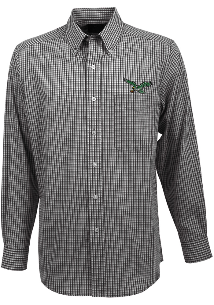 reputable site eeb2d 32d9b Antigua Philadelphia Eagles Mens Black Associate Long Sleeve Dress Shirt