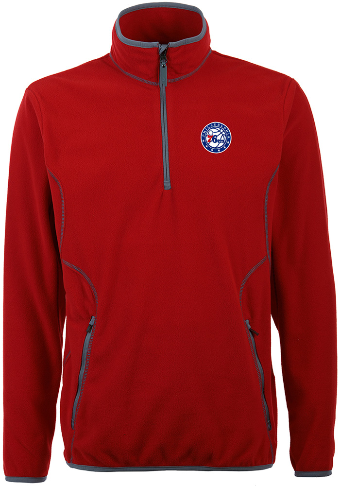 Antigua Philadelphia 76ers Mens Red Ice Long Sleeve 1/4 Zip Pullover - Image 1