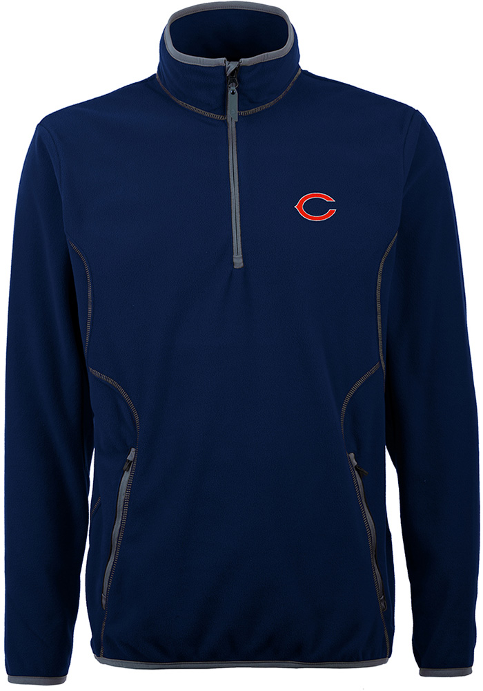 Antigua Chicago Bears Mens Navy Blue Ice 1/4 Zip Pullover