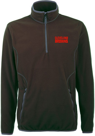 Antigua Cleveland Browns Mens Brown Ice 1/4 Zip Pullover