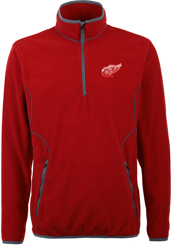 Antigua Detroit Red Wings Mens Red Ice Long Sleeve 1/4 Zip Pullover - Image 1