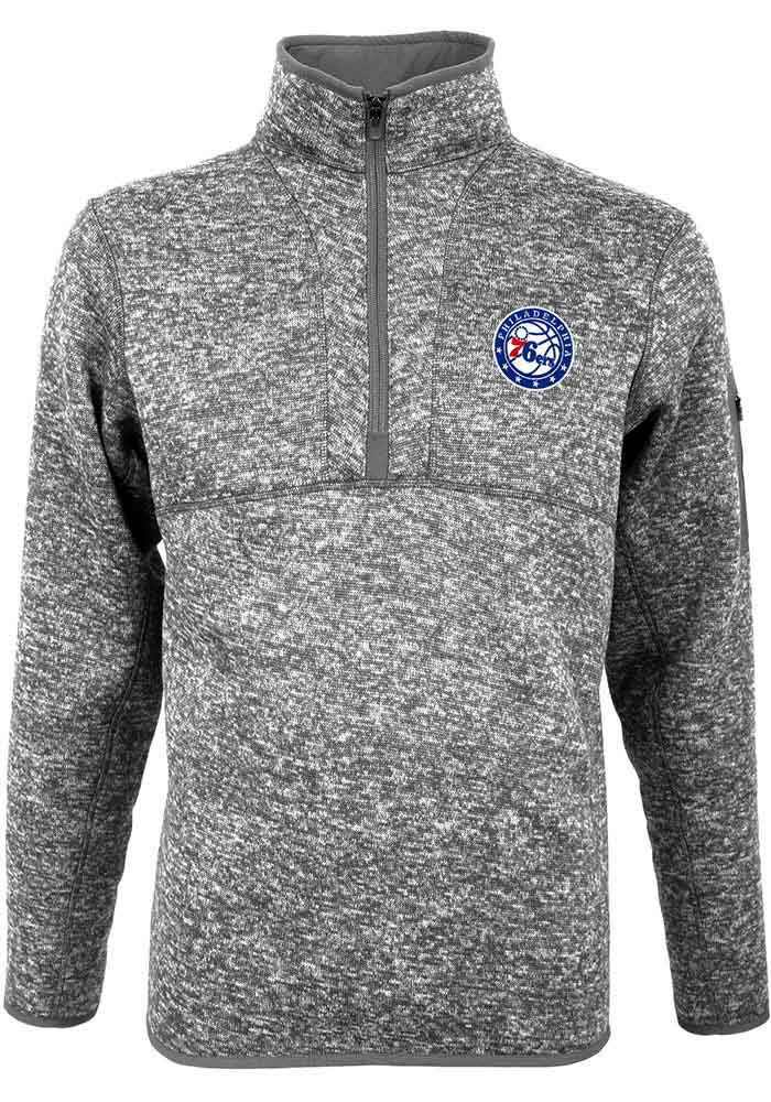 Antigua Philadelphia 76ers Mens Grey Fortune Long Sleeve 1 4 Zip Pullover -  Image 1 f9d098711