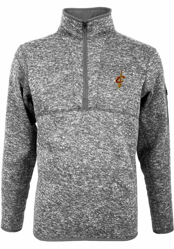 Antigua Cleveland Cavaliers Mens Grey Fortune Long Sleeve 1/4 Zip Pullover - Image 1
