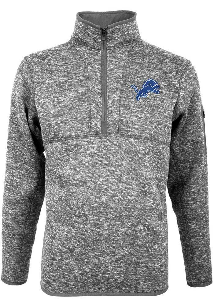 Antigua Detroit Lions Mens Grey Fortune Long Sleeve 1/4 Zip Pullover - Image 1