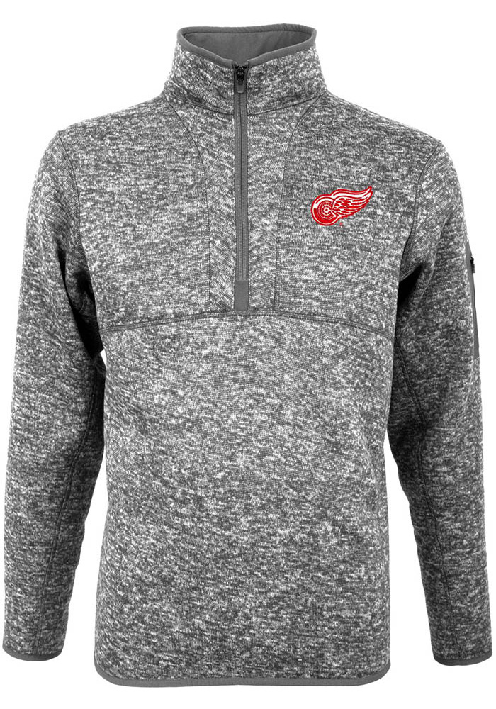 Detroit Red Wings Antigua Fortune 1/4 Zip Pullover - Grey