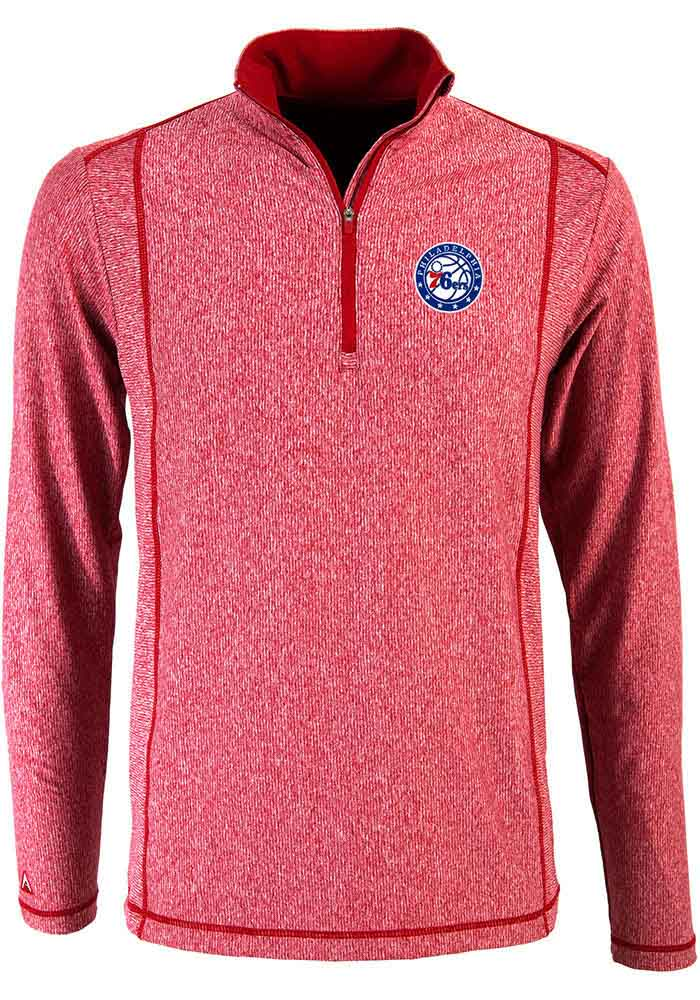 Antigua Philadelphia 76ers Mens Red Tempo Long Sleeve 1/4 Zip Pullover - Image 1