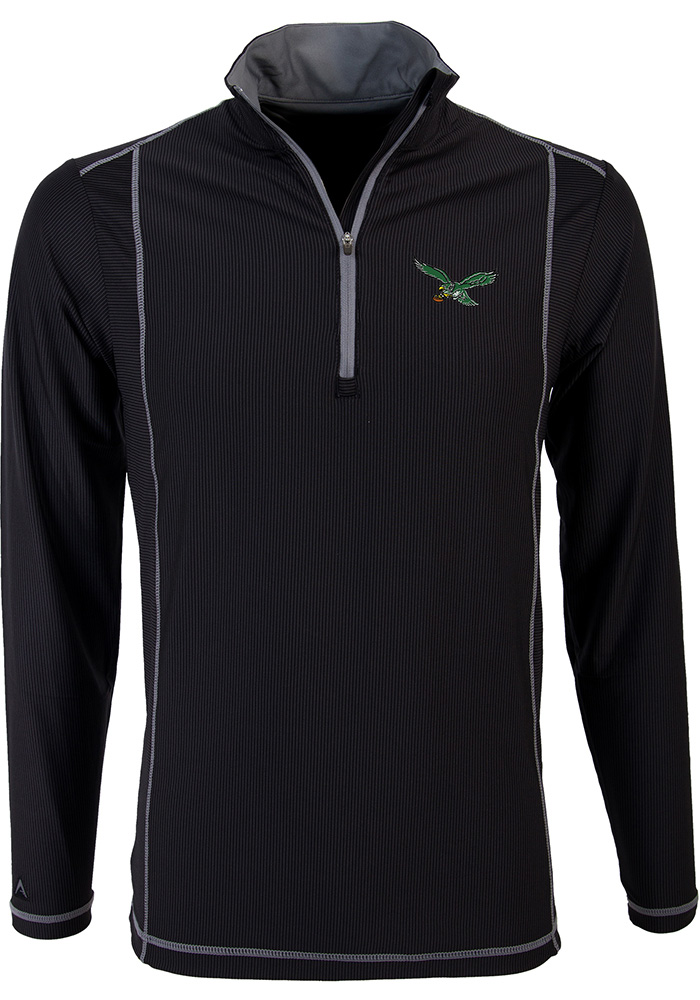 Antigua Philadelphia Eagles Mens Black Tempo Long Sleeve 1/4 Zip Pullover - Image 1