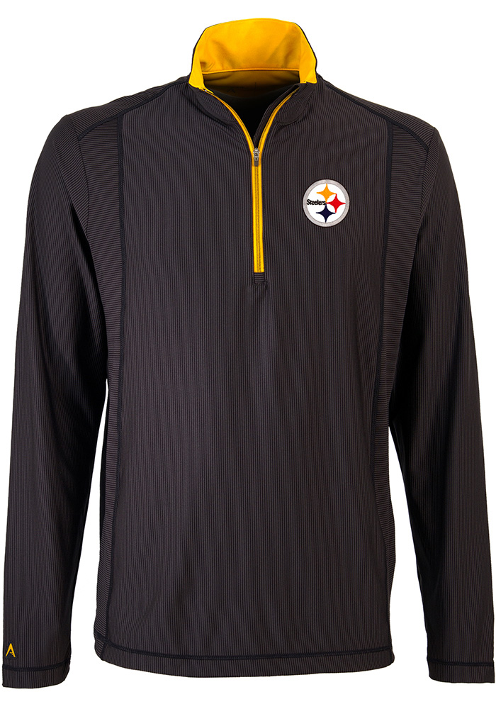 Antigua Pittsburgh Steelers Mens Black Tempo Long Sleeve 1/4 Zip Pullover, Black, 91% POLYESTER / 9% SPANDEX, Size L