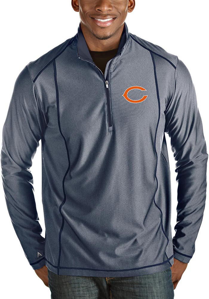 Antigua Chicago Bears Mens Navy Blue Tempo Long Sleeve 1/4 Zip Pullover - Image 1