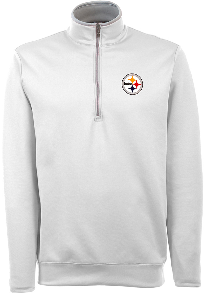 Antigua Pittsburgh Steelers Mens White Leader Long Sleeve 1/4 Zip Pullover, White, 93% POLYESTER / 7% SPANDEX, Size XL