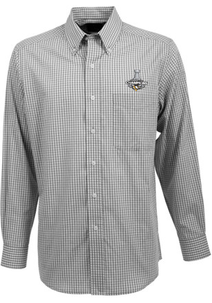 Antigua Pittsburgh Penguins Mens Black 2017 Stanley Cup Champions Dress Shirt