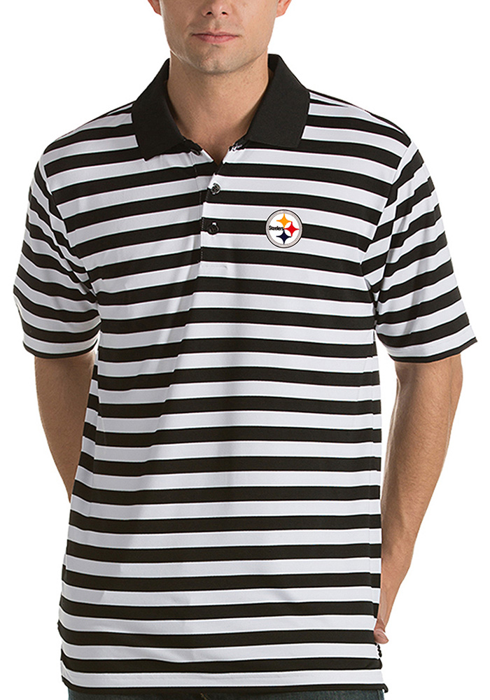 Antigua Pittsburgh Steelers Mens Black Revive Short Sleeve Polo - Image 1