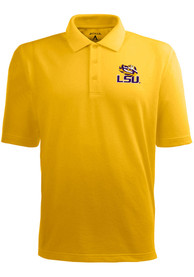 Antigua LSU Tigers Gold Pique Short Sleeve Polo Shirt