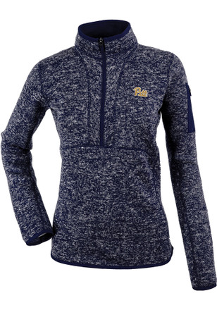 Antigua Pitt Panthers Womens Fortune Navy Blue 1/4 Zip Pullover