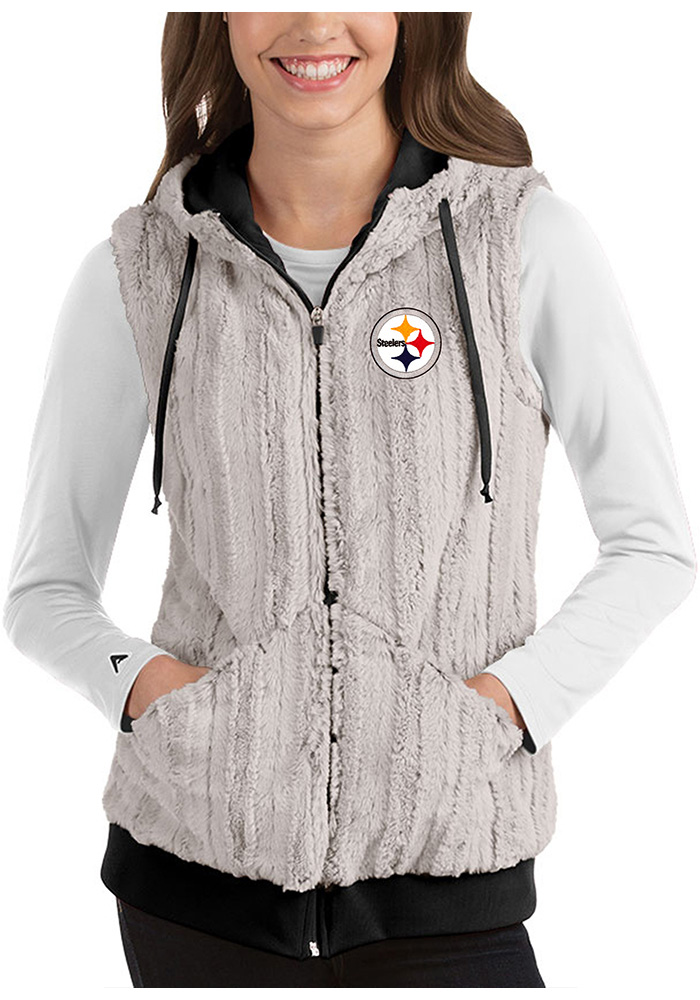 Antigua Pittsburgh Steelers Womens Grey Rant Vest - Image 1