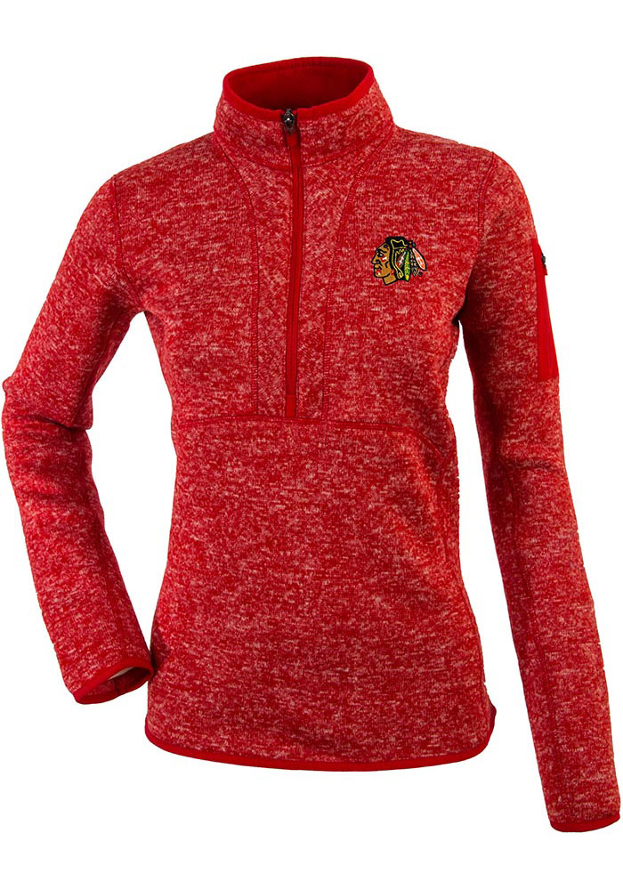 Antigua Chicago Blackhawks Womens Red Fortune 1/4 Zip Pullover - Image 1