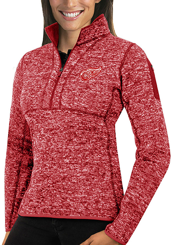 Antigua Detroit Red Wings Womens Red Fortune 1/4 Zip Pullover - Image 1