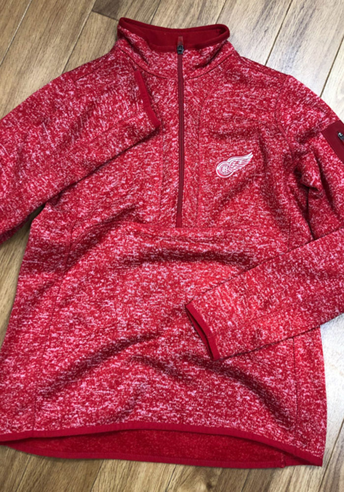 Antigua Detroit Red Wings Womens Red Fortune 1/4 Zip Pullover - Image 2