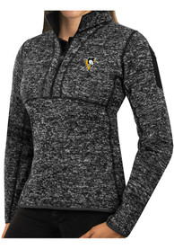 Pittsburgh Penguins Womens Antigua Fortune 1/4 Zip Pullover - Black