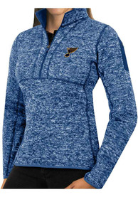 St Louis Blues Womens Antigua Fortune 1/4 Zip Pullover - Blue