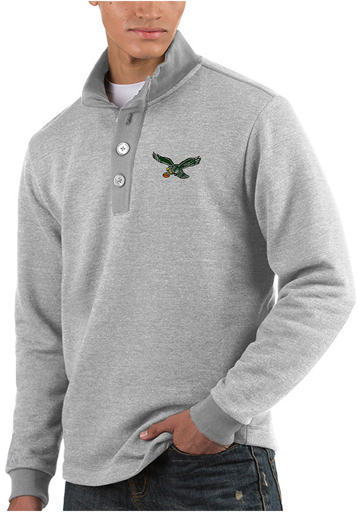 Antigua Philadelphia Eagles Mens Grey Pivotal Long Sleeve Sweater - Image 1 a70350553