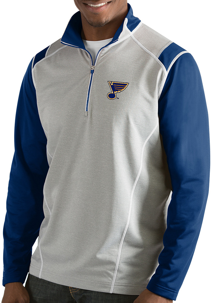 Antigua St Louis Blues Mens Grey Automatic 1/4 Zip Pullover