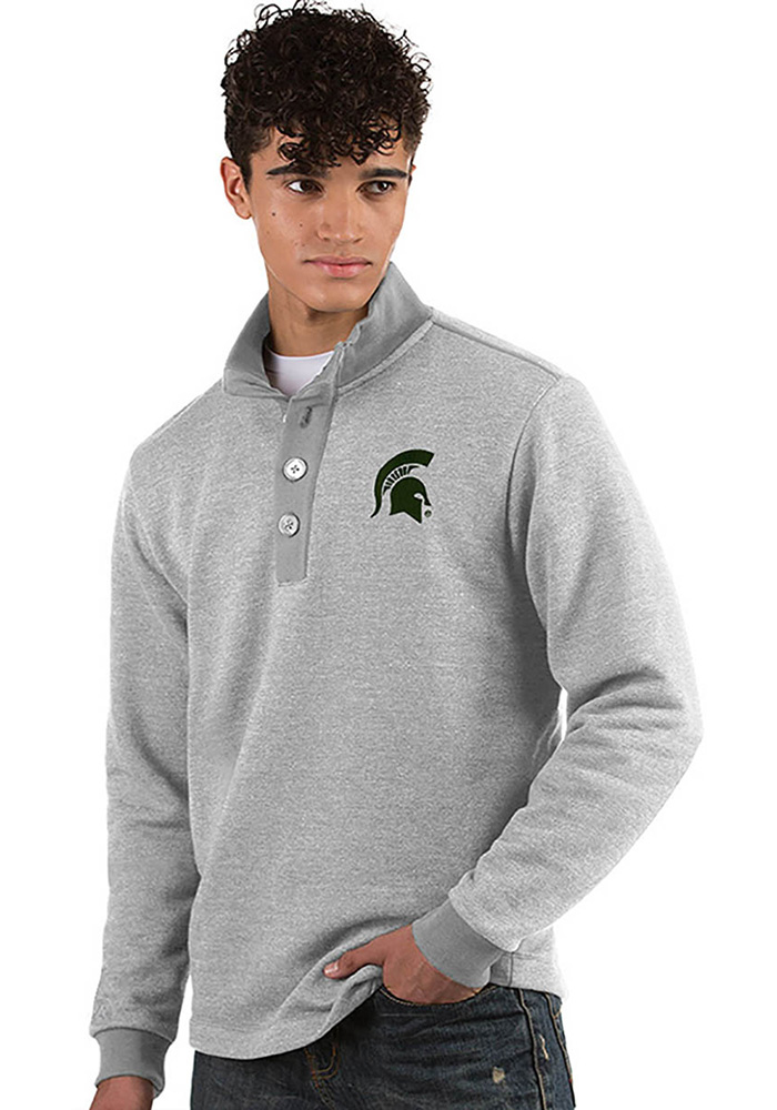 Antigua Michigan State Spartans Mens Grey Pivotal Long Sleeve Sweater - Image 1
