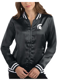 Michigan State Spartans Womens Antigua Strut Track Jacket - Charcoal