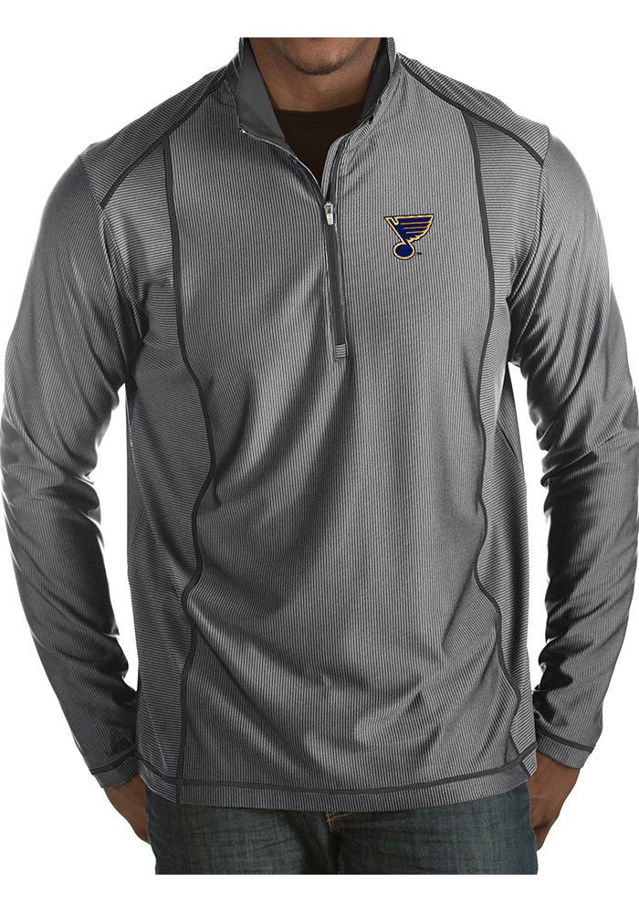 Antigua St Louis Blues Mens Grey Tempo Long Sleeve 1/4 Zip Pullover - Image 1