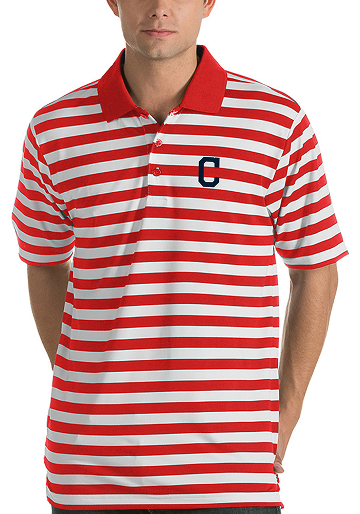 Antigua Cleveland Indians Mens Red Revive Short Sleeve Polo - Image 1