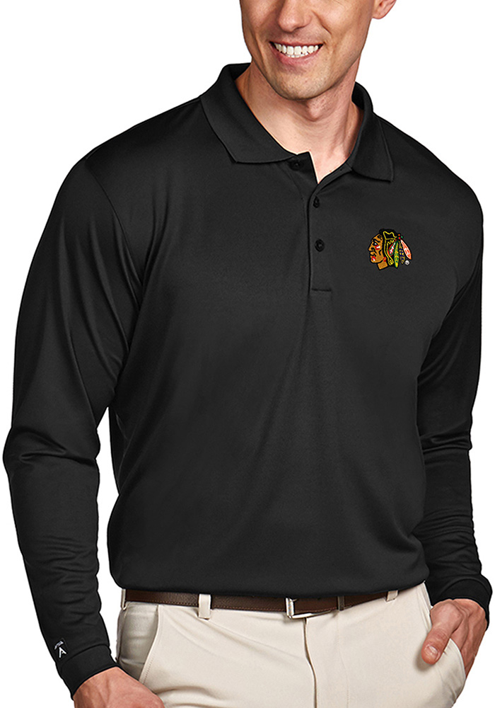 Antigua Chicago Blackhawks Mens Black Exceed Long Sleeve Polo Shirt - Image 1