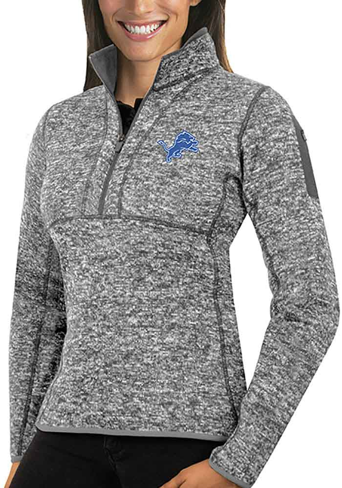 Antigua Detroit Lions Womens Grey Fortune 1/4 Zip Pullover - Image 1