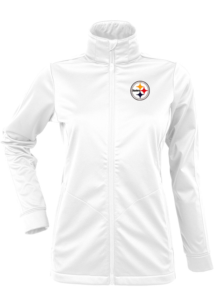 Antigua Pittsburgh Steelers Womens White Golf Heavy Weight Jacket - Image 1