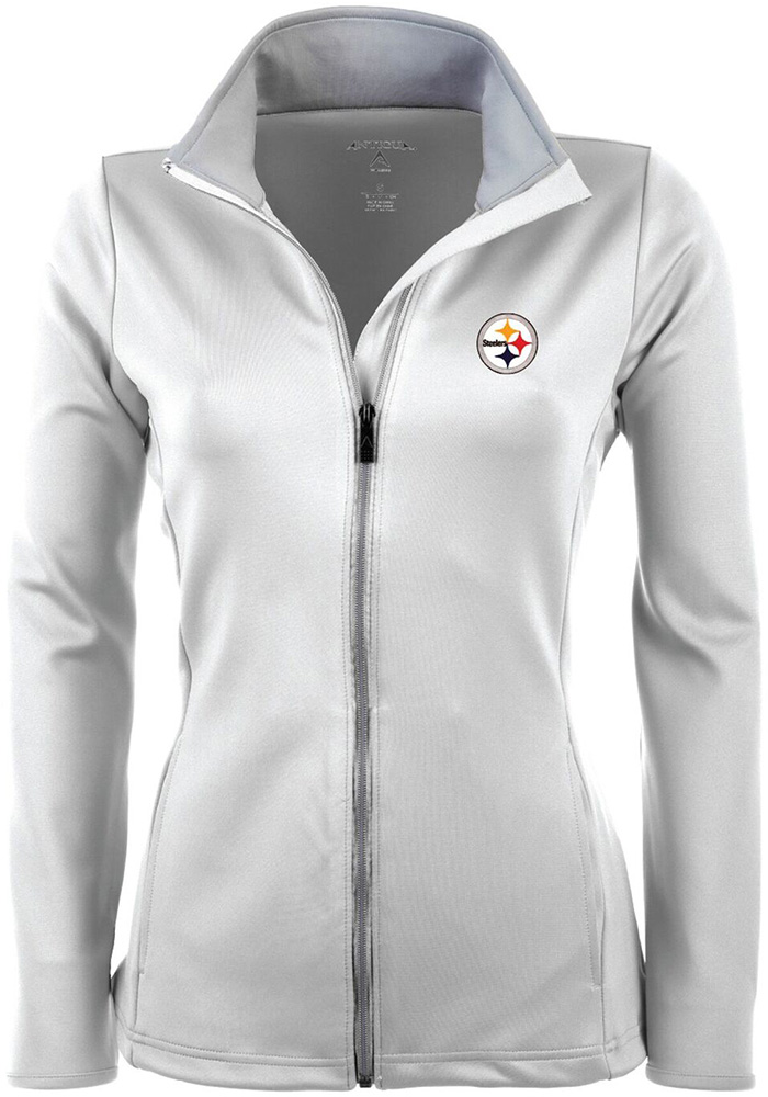 5bb8f28e9 Antigua Pittsburgh Steelers Womens White Leader Light Weight Jacket - Image  1
