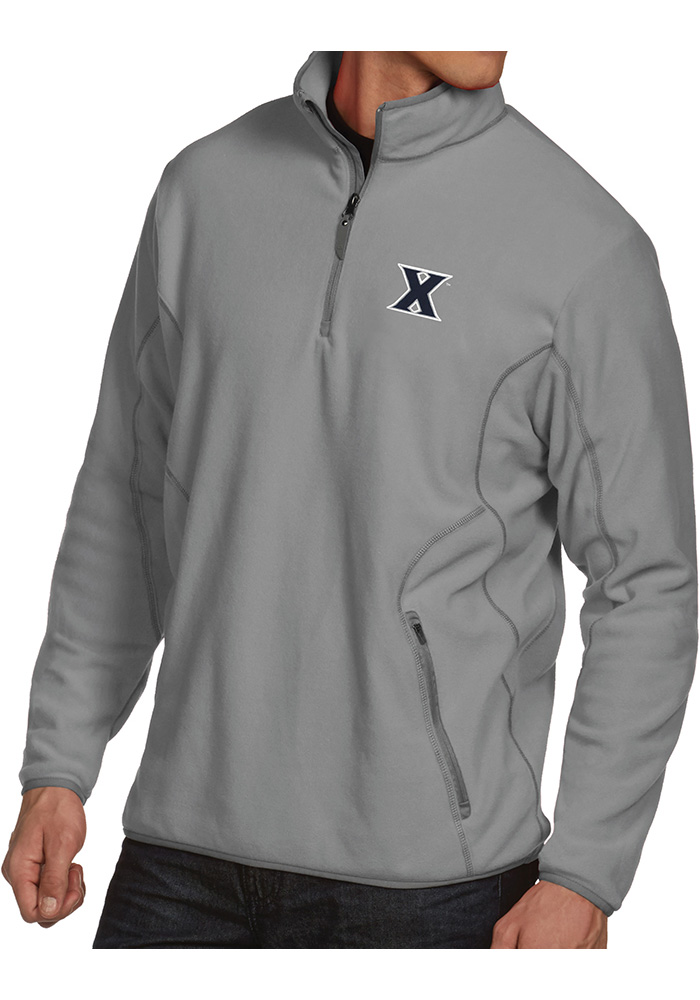 Antigua Xavier Musketeers Mens Grey Ice 1/4 Zip Pullover