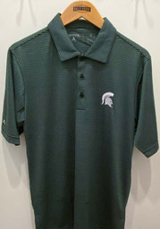 Antigua Michigan State Spartans Mens Green Quest Short Sleeve Polo