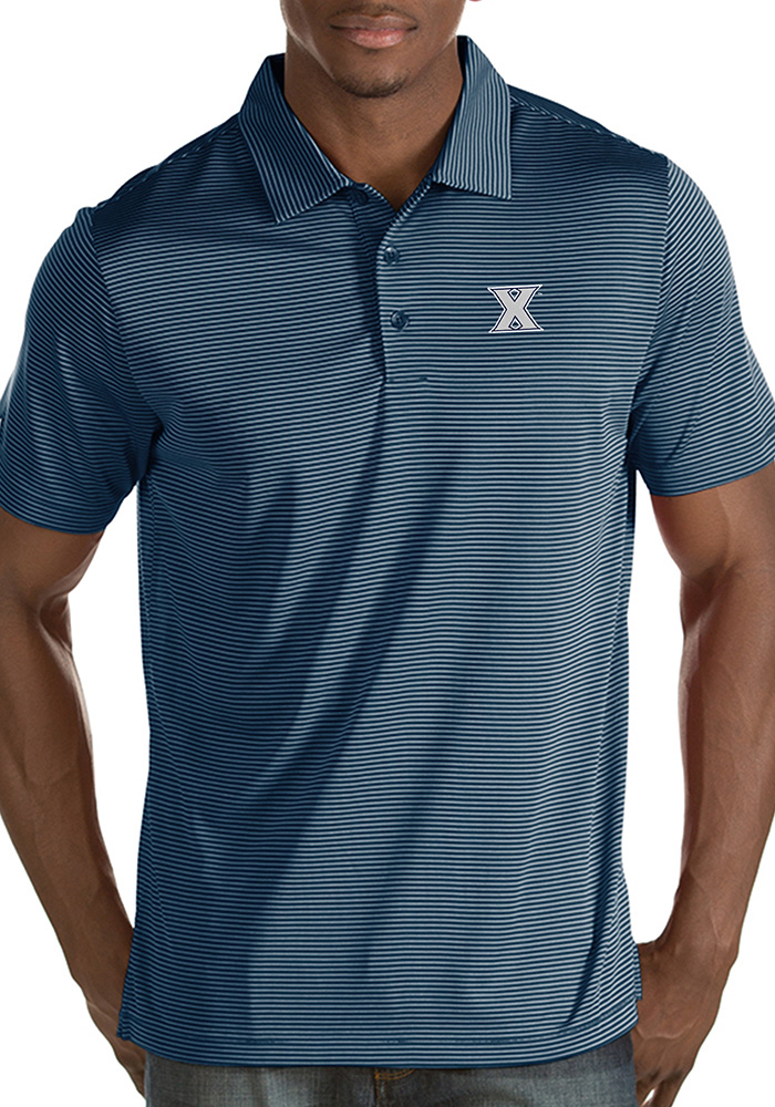 Antigua Xavier Musketeers Mens Navy Blue Quest Short Sleeve Polo - Image 1