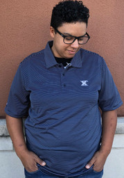 Antigua Xavier Musketeers Mens Navy Blue Quest Short Sleeve Polo