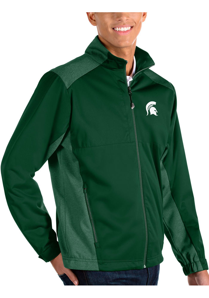 Antigua Michigan State Spartans Mens Green Revolve Light Weight Jacket - Image 1