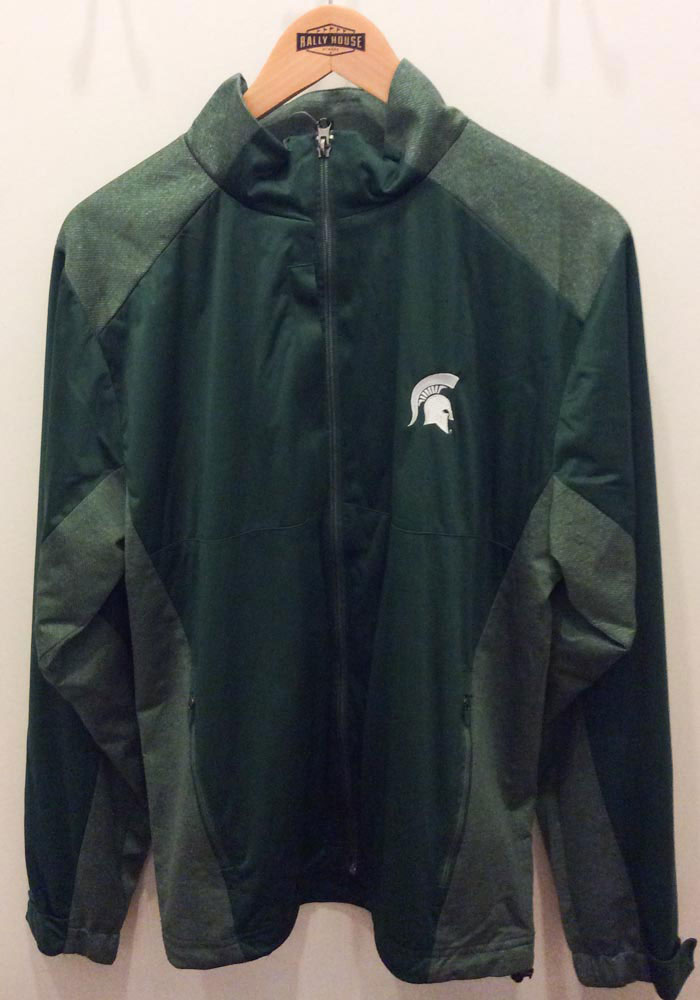 Antigua Michigan State Spartans Mens Green Revolve Light Weight Jacket - Image 2