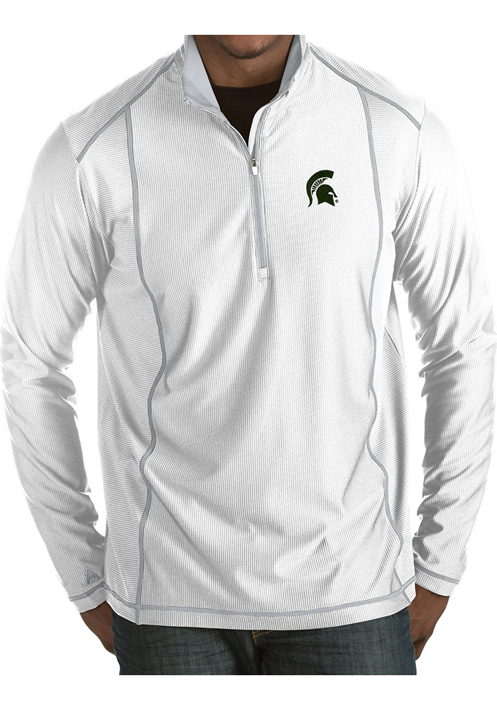 Antigua Michigan State Spartans Mens White Tempo Long Sleeve 1/4 Zip Pullover - Image 1