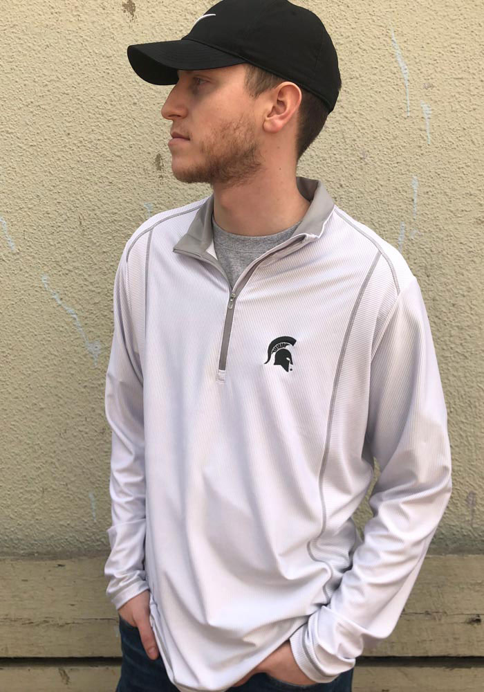 Antigua Michigan State Spartans Mens White Tempo Long Sleeve 1/4 Zip Pullover - Image 2