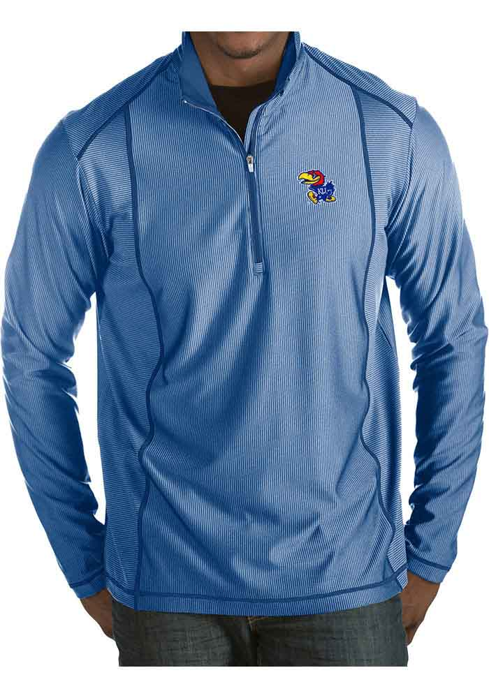 Antigua Kansas Jayhawks Mens Blue Tempo Long Sleeve 1/4 Zip Pullover - Image 1