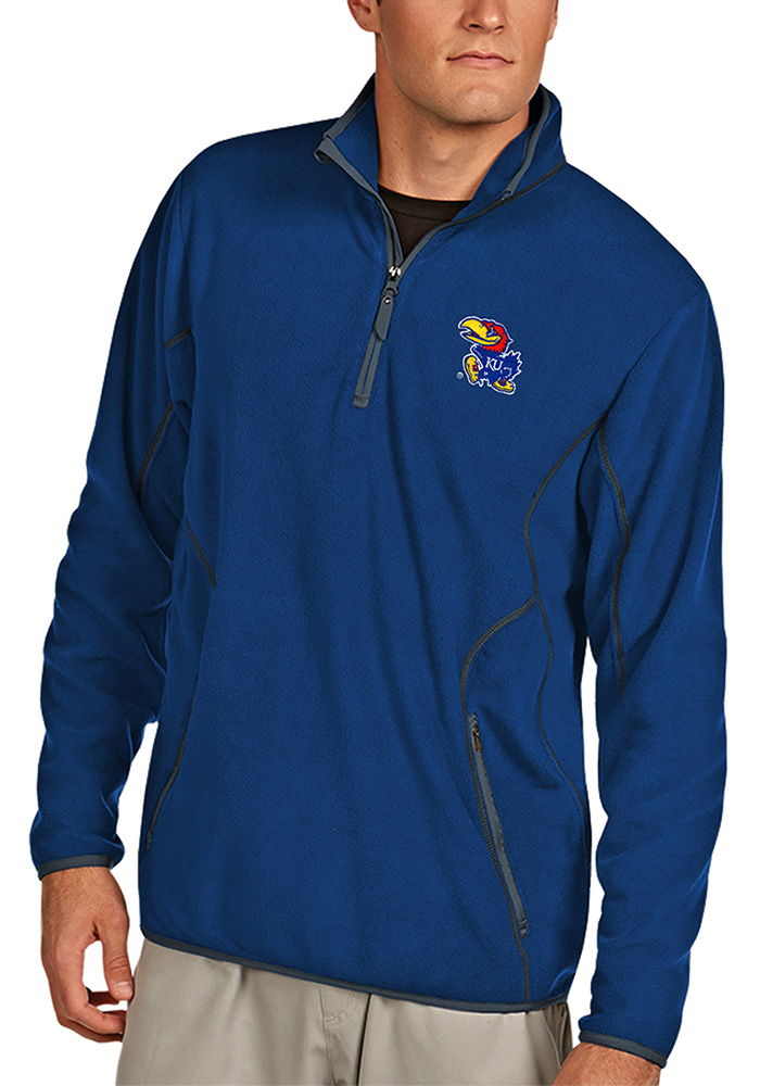 Antigua Kansas Jayhawks Navy Blue Ice 1/4 Zip Pullover