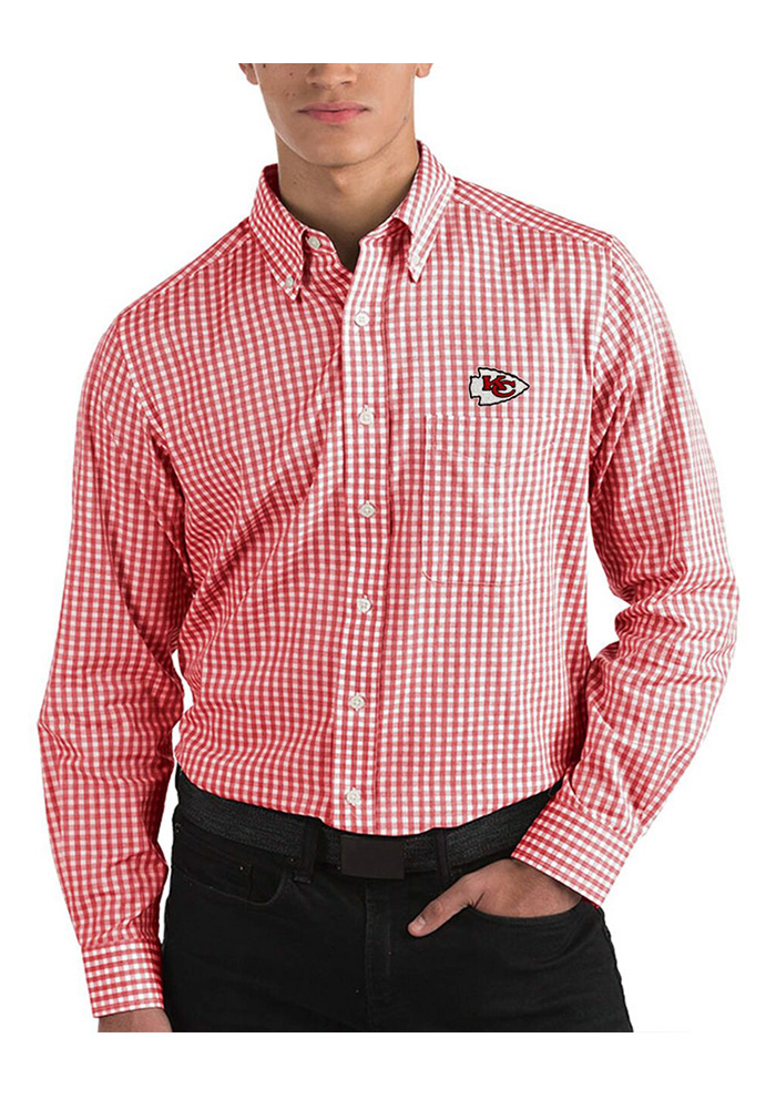Antigua Kansas City Chiefs Mens Red Rank Long Sleeve Dress Shirt - Image 1