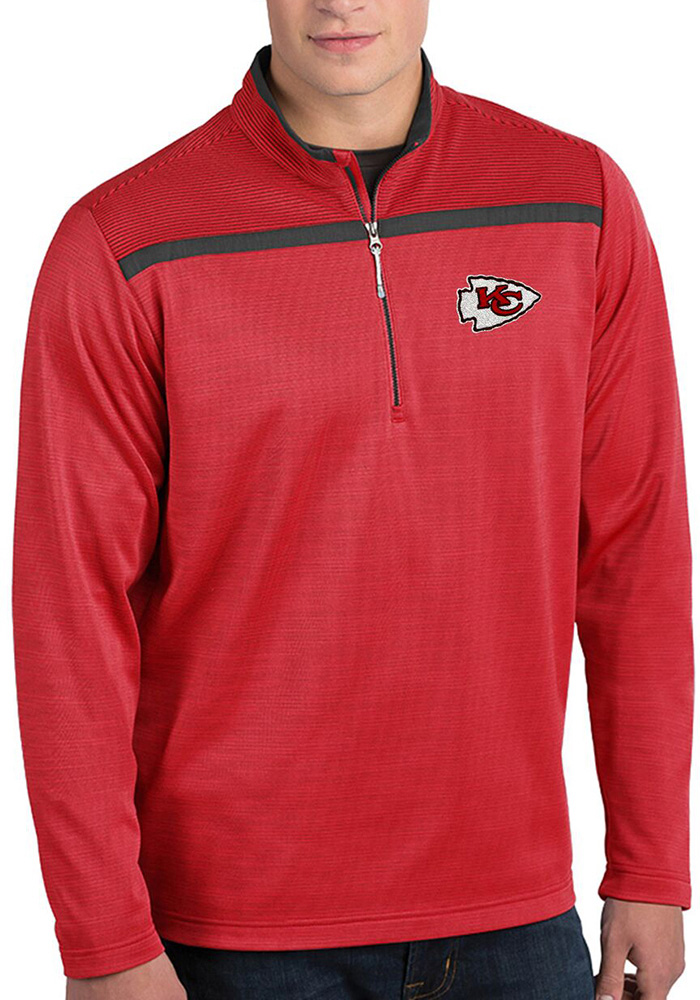 Antigua Kansas City Chiefs Mens Red Cryptic Long Sleeve 1/4 Zip Pullover - Image 1