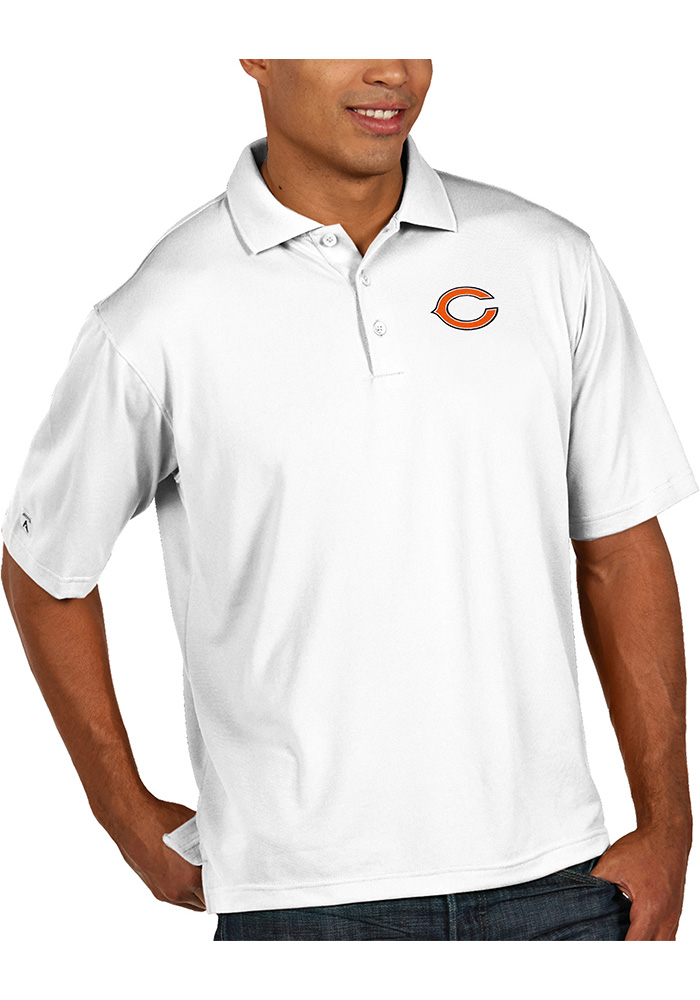 Antigua Chicago Bears Mens White Pique Short Sleeve Polo - Image 1