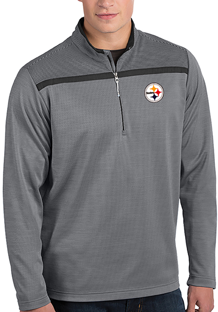 Antigua Pittsburgh Steelers Grey Cryptic 1/4 Zip Pullover