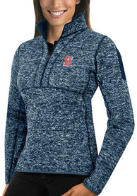 St Louis Cardinals Womens Antigua Fortune 1/4 Zip Pullover - Navy Blue